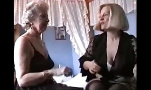 Several grannies fake in underthings and nylons
