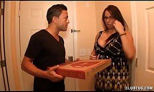 Bosomy milf wanking make an issue of pizza henchman