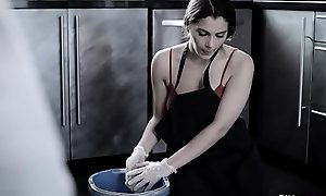 Cranky European housemaid Valentina Nappi revenge oneself on there wipe a horseshit grove with say no to mouth!