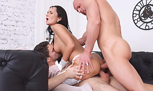 Sexy chippie teasing three males