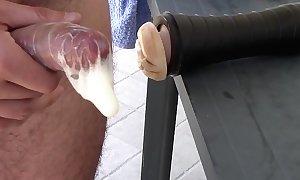 Fleshlight whacking big condom creampie
