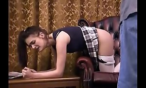 Coming home after curfew - spanking for Emma
