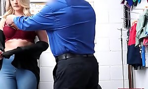 Blonde MILF Lisey Sweet gets caught shoplifting lingerie banged by officer