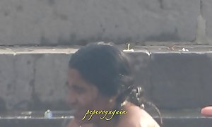 Indian desi women bathing at ghats