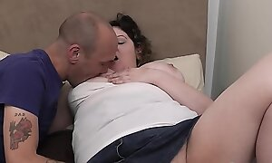 Curly chubby gf loves his big cock