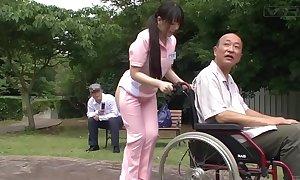 Subtitled bizarre japanese half bared caregiver absent from